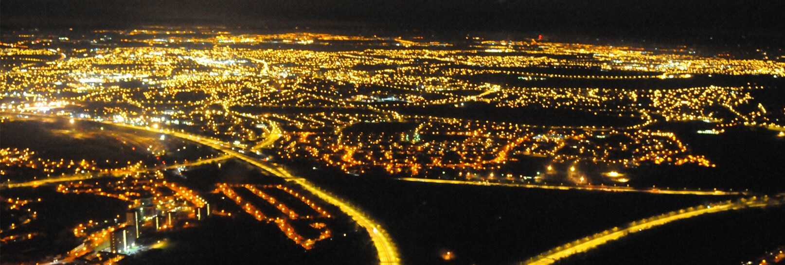 View of Dudley, Birmingham at night