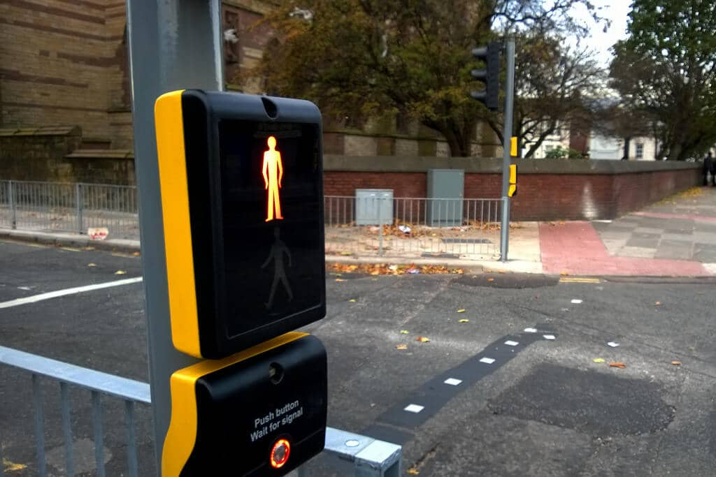 Example of puffin crossing - pedestrian crossing